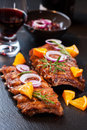 Marinated BBQ spare ribs Royalty Free Stock Photography
