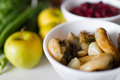 Marinated mushrooms in bowl on table Royalty Free Stock Image