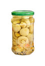 Marinated mushrooms in the glass jar Stock Photography