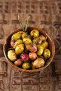 Marinated Olives in bowls with moroccan ornament Royalty Free Stock Photo