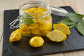 Marinated pattypans pattypan squash in a jar Royalty Free Stock Photography