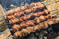 Marinated pork aka armenian shashlik being cooked on a brazier Royalty Free Stock Photo