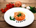 Marinated salmon fillet on plate Royalty Free Stock Photo