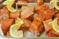 Marinated salmon shashlik Royalty Free Stock Photo
