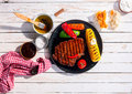 Marinated spicy grilled rib eye beef steak Royalty Free Stock Photo