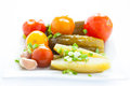 Marinated vegetables - Assorted plate Stock Images
