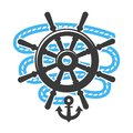 Marine anchor helm wheel and rope vector icon