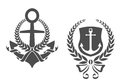 Marine anchors ribbons laurel wreathes heraldry design Stock Photo