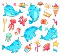 Marine kawaii baby unicorn narwhal. Swimming blue funny anime whale vector cartoon clipart