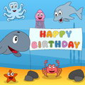 Marine Animals Happy Birthday Royalty Free Stock Images