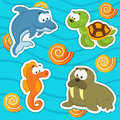 Marine animals icon set vector illustration vector walrus dolphin turtle shell seahorse Royalty Free Stock Images