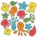 Marine animals set. Flat style isolated on white background. Star, octopus, jellyfish