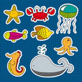 Marine animals stickers Royalty Free Stock Photo