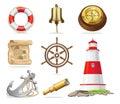 Marine Attributes Set of Isolated Illustrations