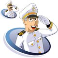 Marine captain of ship salutes the isolated illustration Stock Images