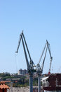 Marine cargo port cranes pula croatia Stock Photo