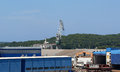 Marine cargo port cranes pula croatia Stock Photos