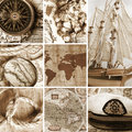 Marine collage with old compasses and maps Stock Photo