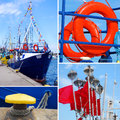 Marine collage with small tourist ship and details Royalty Free Stock Photo
