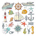 Marine coloring doodle set with different nautical elements, compass and lighthouse. Underwater animals vector set