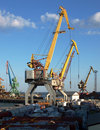 Marine cranes in cargo port Stock Photo
