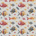 Marine cute seamless pattern with fishes, algae, starfish, coral, seabed Royalty Free Stock Photo
