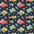Marine cute seamless pattern with fishes, algae, starfish, coral, seabed, bubble Royalty Free Stock Photo