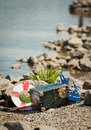Treasure chest on a beach Royalty Free Stock Photo
