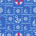 Marine elements design on blue waves.