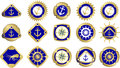 Marine emblem signs with pictograms depicting nautical theme anchors the wind rose compass wheel Royalty Free Stock Photography