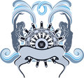 Marine emblem wheel and mermaid design on waves Royalty Free Stock Image