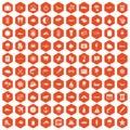 100 marine environment icons hexagon orange