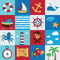 Marine icon nautical and sea set maritime pirate Stock Image