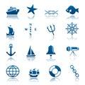 Marine icon set Royalty Free Stock Photo