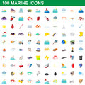 100 marine icons set, cartoon style