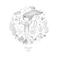 Marine illustrations set. Little cute cartoon mermaid, funny fish, starfish, bottle with a note, algae, various shells Royalty Free Stock Photo