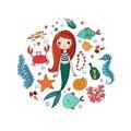 Marine illustrations set. Little cute cartoon mermaid, funny fish, starfish, bottle with a note, algae, various shells