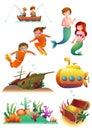 Marine Illustrations Set Royalty Free Stock Photo