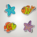 Marine inhabitants vector set of icons on the theme Stock Photo