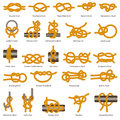 Marine knots and hitches types vector isolated icon Royalty Free Stock Photo