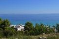 Marine landscape. Greece, Kassandra, Chalkidiki. Blue sea and sky, Royalty Free Stock Photo