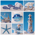 Marine life collage of photos with decoration Stock Image