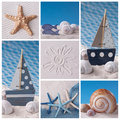 Marine life collage Royalty Free Stock Photo