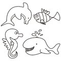Marine life coloring for kids aquatic animals Stock Photography