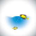 Marine life  concept - colorful fish fish in ocean. Stock Photos