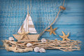 Marine life decoration and on wooden shabby background Stock Photos
