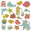Marine life doodles Stock Photo