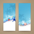 Marine life illustration of two abstract banners with elements Stock Photos