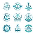 Marine logo. Nautical vector emblem with ship anchors and steering wheels. Cruise boat sailor monochrome symbols for