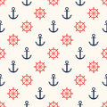Marine pattern. Ship helm and anchor, navy seamless pattern Royalty Free Stock Photo